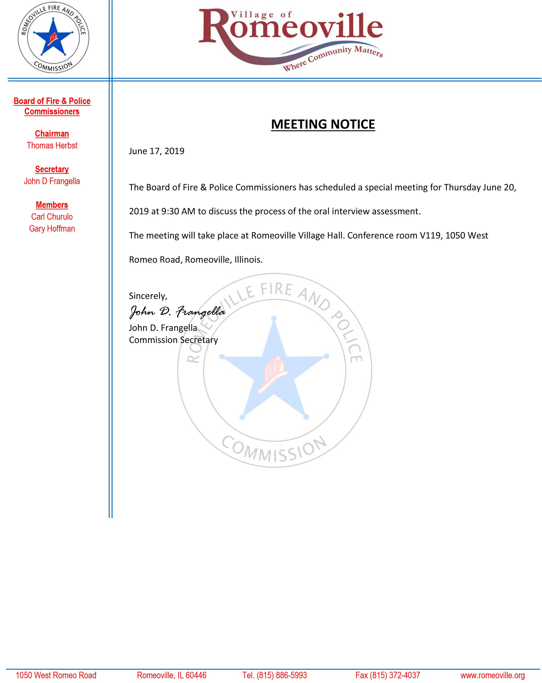 2019-06-20 Meeting Notice